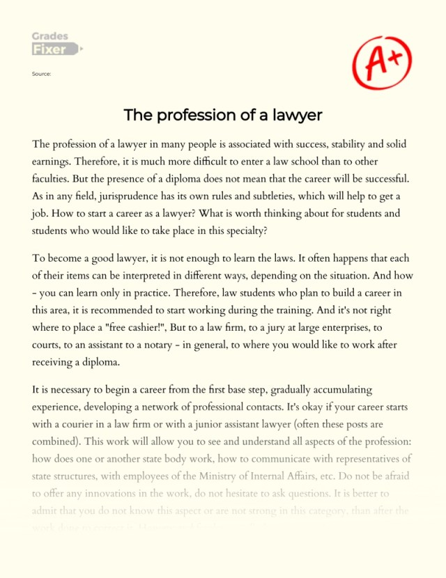 The Profession of a Lawyer: [Essay Example], 27 words GradesFixer