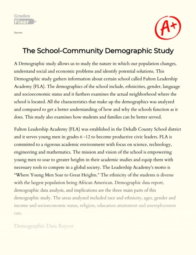 The School-Community Demographic Study: [Essay Example], 30
