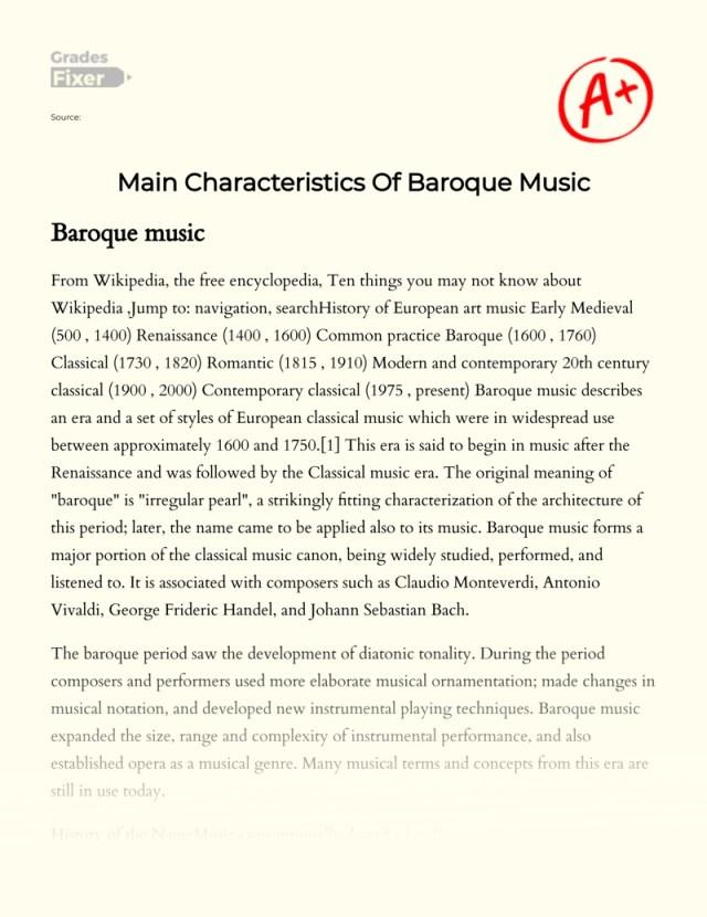 Main Characteristics Of Baroque Music: [Essay Example], 7 words