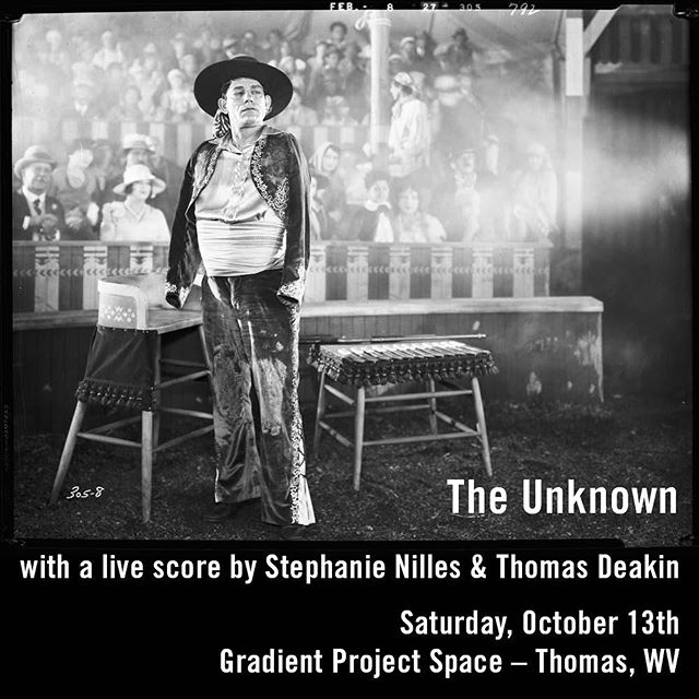 "Next Saturday at GPS: We'll be screening the 1927 silent film ""The Unknown"" with Stephanie Nilles and Thomas Deakin playing a live musical score.  Details to follow soon…"