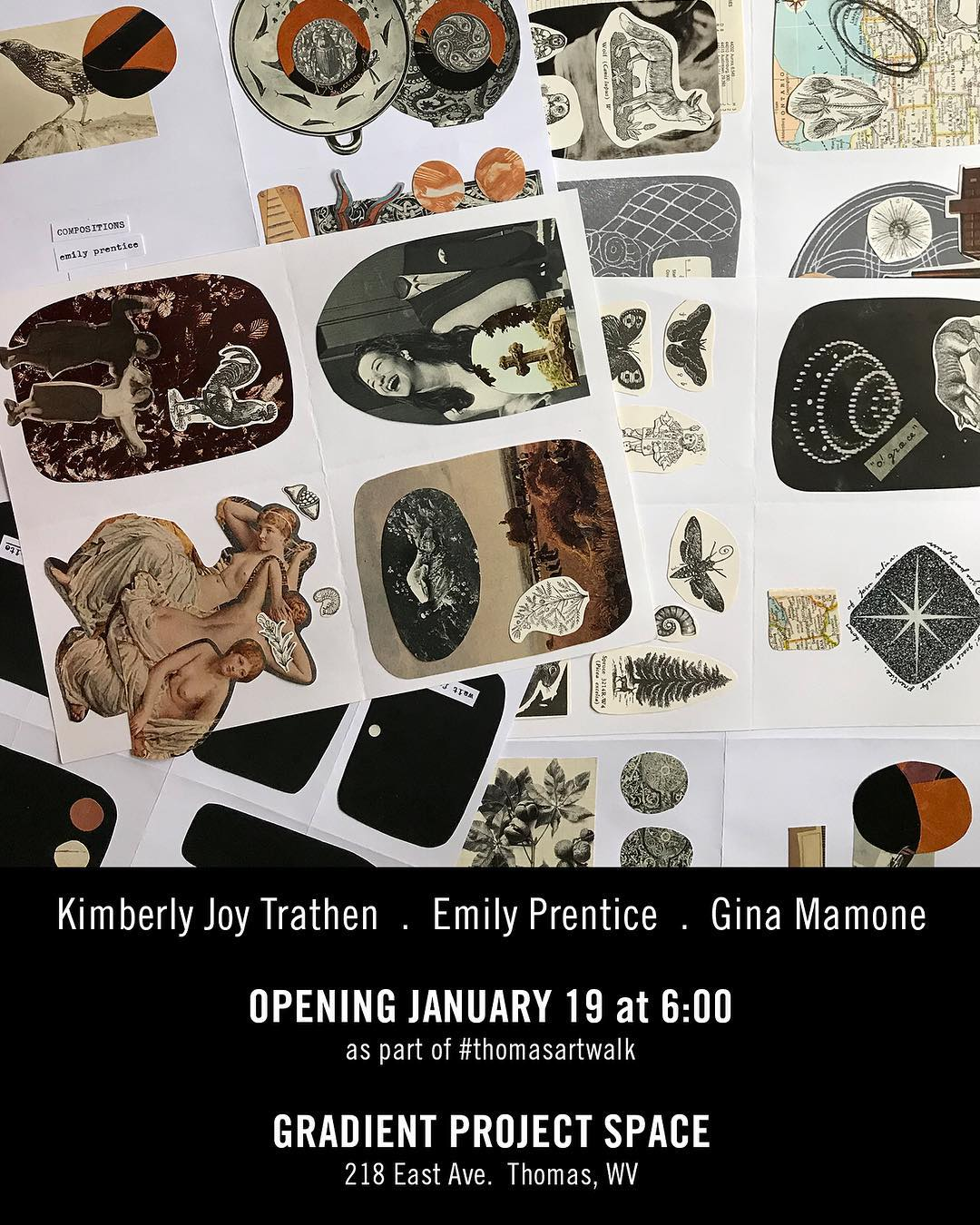 Saturday January 19th.  As part of #thomasartwalk • • • •  Gradient will be showing: • Dutchman's Puzzle by Kimberly Joy Trathen(@backstitched_design) • A showcase of zine work by Emily Prentice(@_emily_prentice_) • A text work by Gina Mamone(@queerappalachia) • • • •  Also in Thomas this night: • Poster making and letterpress demo at @talkingleaves_ from 5:00 • 'In Solidarity' group show at White Room @ 6:00 • @samgrayart at @creatureofthomaswv @ 6:00 • @sarahgoodyearstudios at @lamplightgallery @ 6:30 • @michaeldoigart at @tiptopcoffeeco … • • • • In solidarity with the international women's march and the greater movement for gender equality
