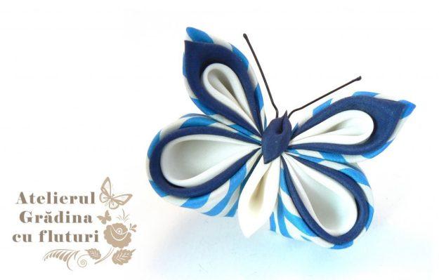 fluture albastru mătase kanzashi broşă
