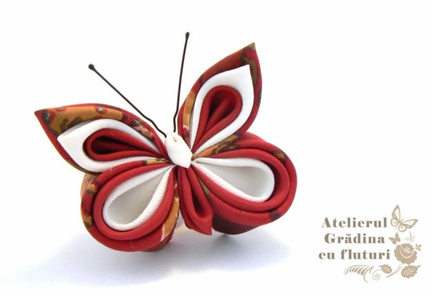 fluture rosu mătase kanzashi broşă