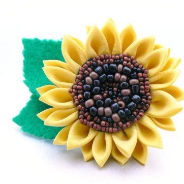 floarea soarelui kanzashi - Gradina cu fluturi