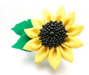 Floarea soarelui kanzashi - prima încercare