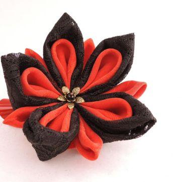 Floare de lotus din matase dantela negru rosu cu auriu