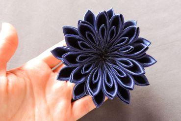 tutorial crizantema mare floare kanzashi satin 13