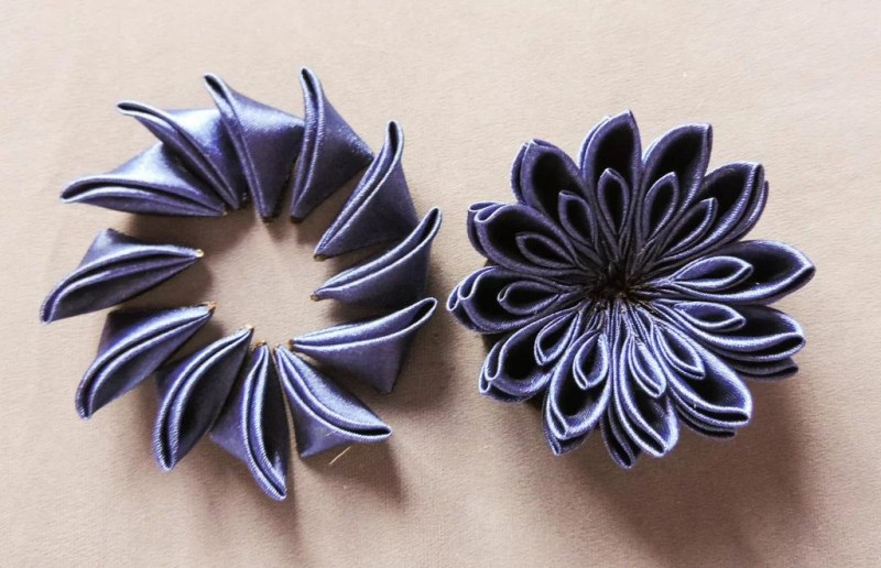 tutorial crizantema mare floare kanzashi satin 9