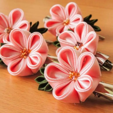 Pink satin fabric flowers - cherry blossoms - spring kanzashi flower