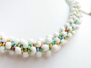 Colier alb bombonele margele Preciosa bead crochet 2