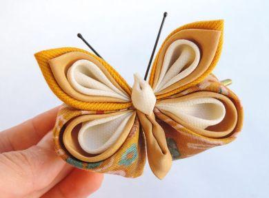 Fluture galben mustar alb matase, bumbac - kanzashi - clama de par