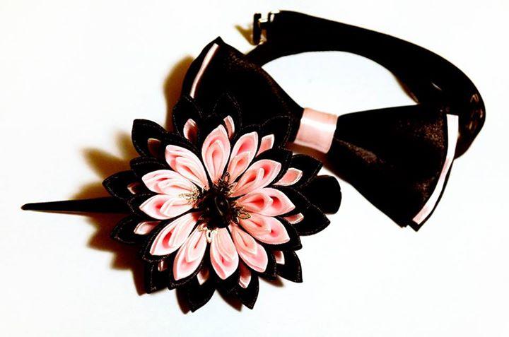 Crizantema si papion din satin roz si negru stil goth