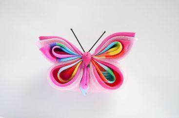 Fluture roz satin organza vascoza