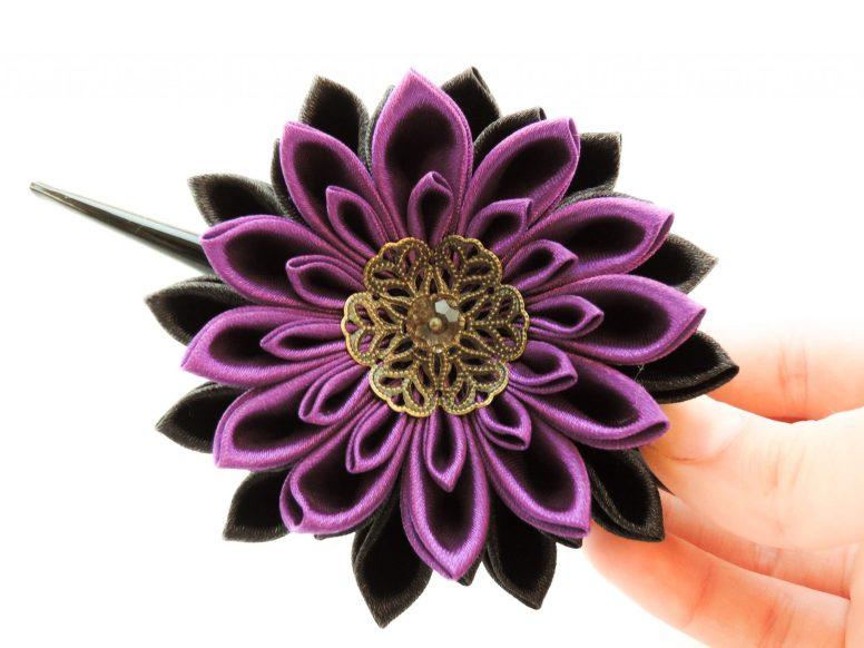 Black and purple satin chrysanthemum - DIY tutorial