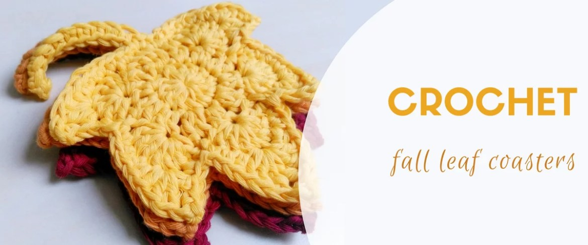Crochet fall leaf coasters
