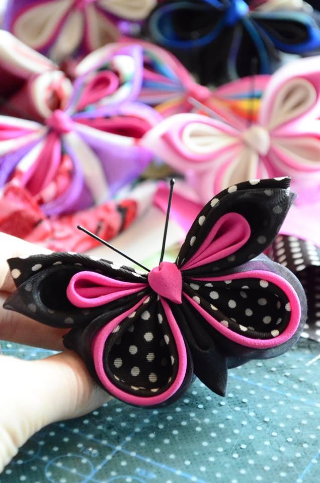 Black pink polka dot silk butterfly
