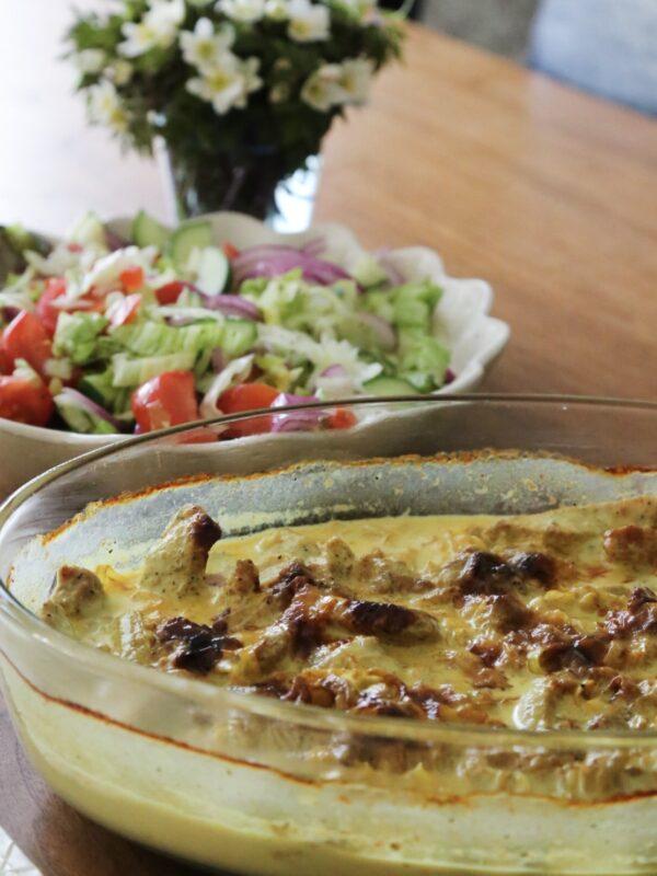 Perfekt bjudrätt: Skinkschnitzel med curryfräst purjo