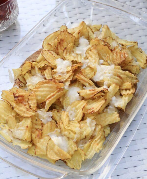 Varma chips med chèvre