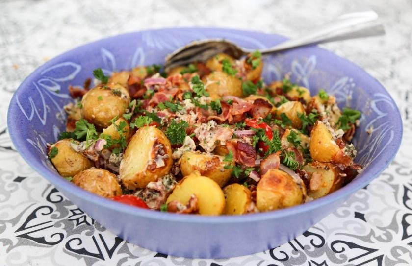 Potatissallad med senapsfrön och bacon