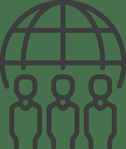 Icon KOnferenzen (Perosnen vor Globus)
