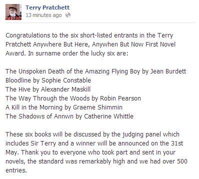 Terry Pratchett Award shortlist: Jean Burdett, Sophie Constable, Alexander Maskill, Robin Pearson, Graeme Shimmin and Catherine Whittle