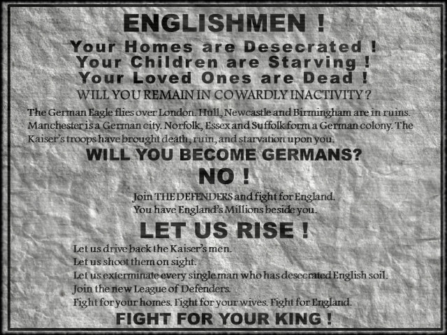 """""""Englishmen Rise!"""" Poster from Spies of the Kaiser by William Le Queux"""