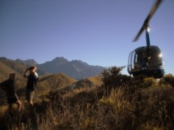 It's easier to get around here in a helicopter, late evening on a limestone hill in the arid Clarence