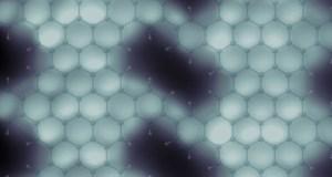 Imagen de grafeno nanoporoso con su estructura molecular sobreimpresa. / ICN2