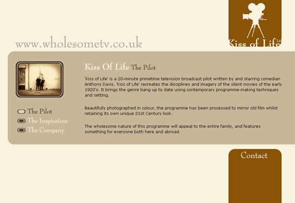 Website design for Kiss of life - 2000