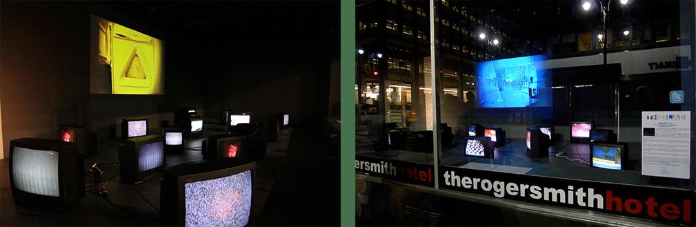 Vista de 'Amarillo' y 'Azul' de Colurolias en la instalación de arte Proyecto 101 en Nueva York. Foto: J. Goldhill.