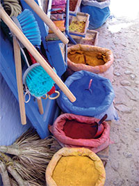 Ocre, blue, red and yellow pigments in Chaouen.