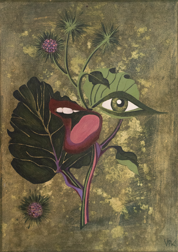 Painting of plant with eye and mouth shouting