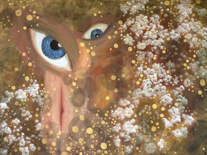 Painting of eye and vertical mouth with flowers and golden bubbles