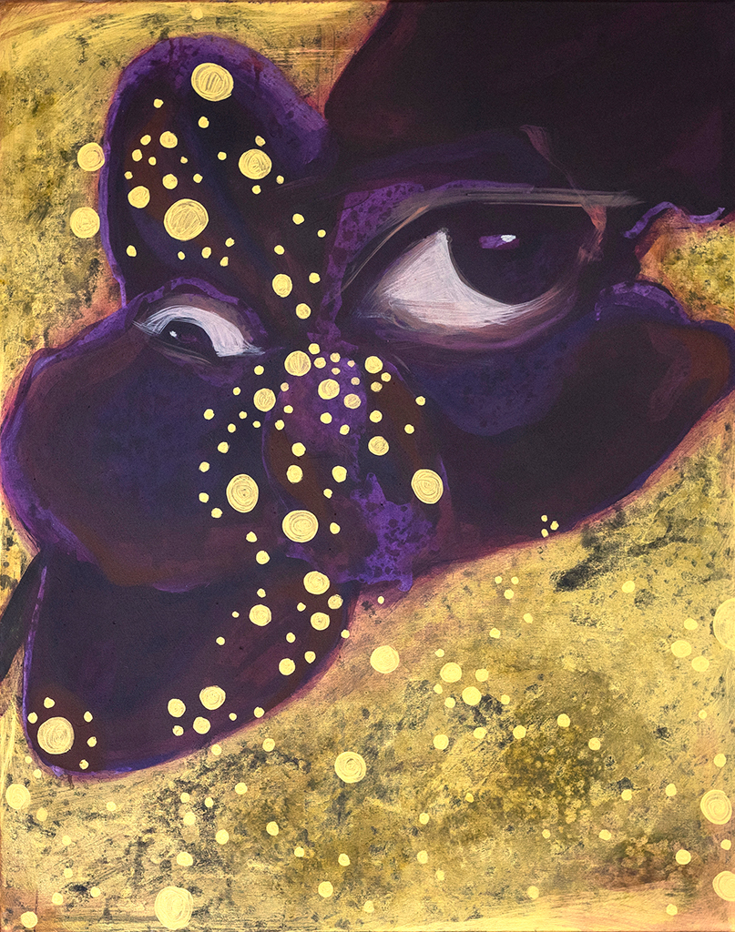 Painting of purple flower with eye and golden bubbles and background