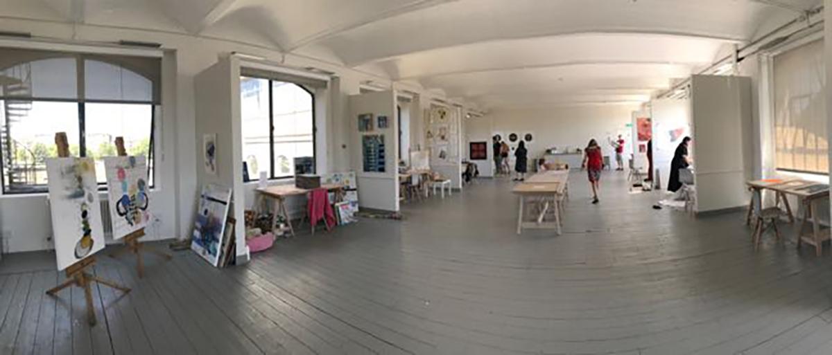 Panoramic photo of art studio