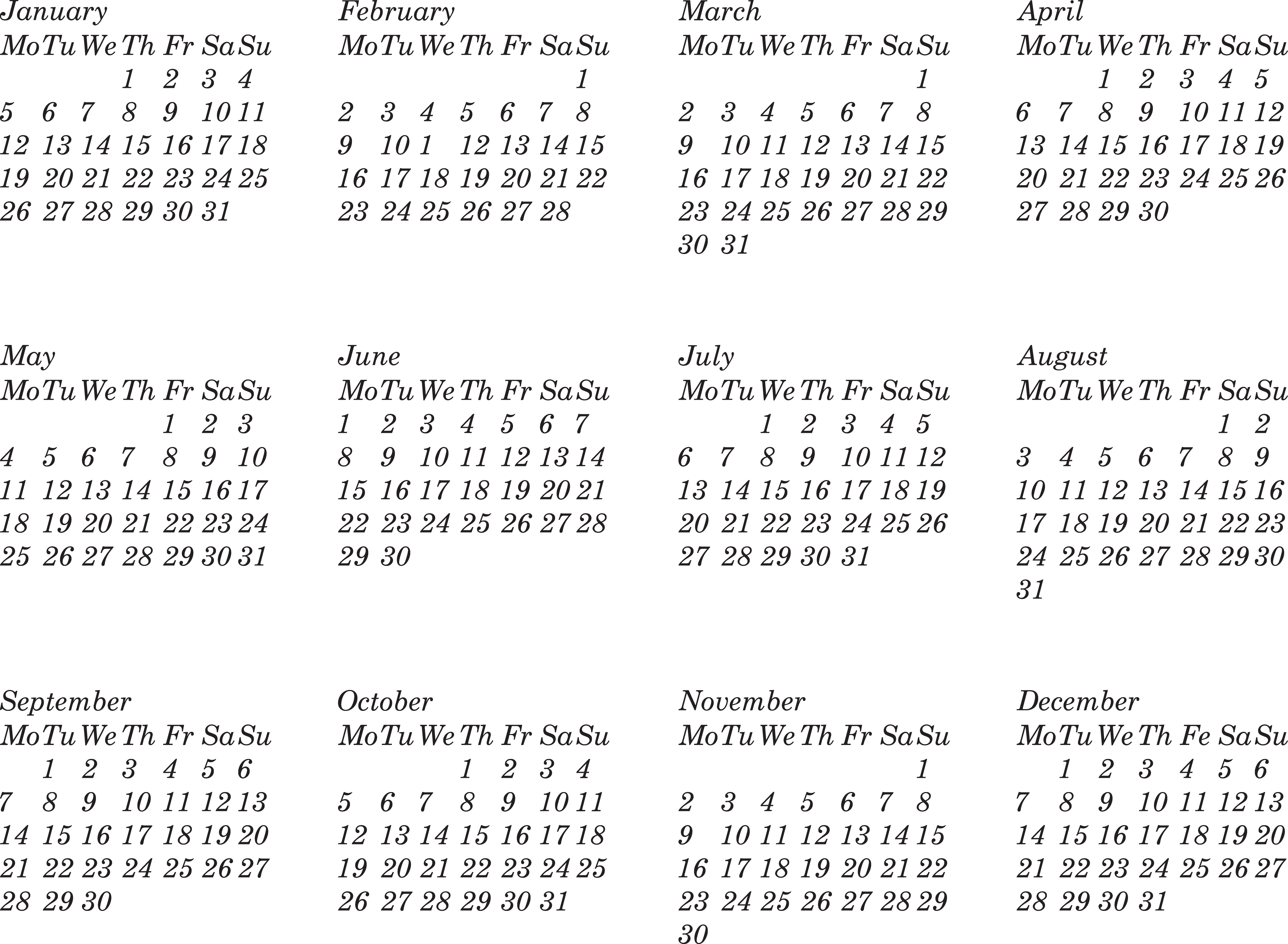 New Year And Free Calendar Photoshop Brushes