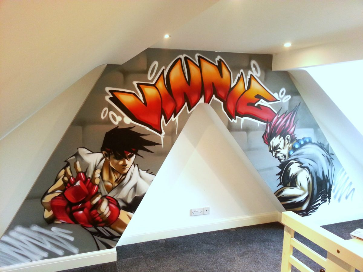 Streetfighter Bedroom Graffiti muralGraffiti Bedroom Walls from a Contemporary Street Artist  . Graffiti Bedroom Decorating Ideas. Home Design Ideas