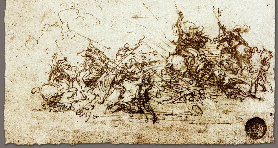 Etude de bataille de Léonard de Vinci