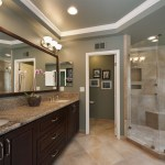 Minimalist Furniture Set For Cool Master Bathroom Be Equipped With Large Bathroom Vanity Mirrors With Fake Flower Vase Plus Bronze Bathroom Lighting Fixtures Master Bathroom Ideas Which Can Inspire You