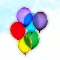 Balony baloniki żółty czerwony fioletowy niebieski zielony