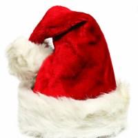 Czapka Mikołaja Świętego czerwona z białym futerkiem i bombonem