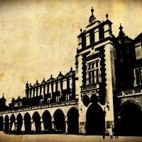 Kraków Rynek Polska Sukiennice czarno-białe  stare zdjęcie zabytek zabytki