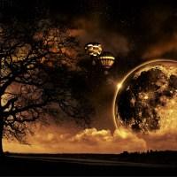 Widok w nocy księżyc balony drzewo gwiazdy słońce