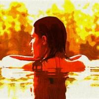 Kobieta w wodzie impresjonizm Grafika Grafiki