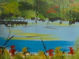 1024x768 painted lake wallpaper