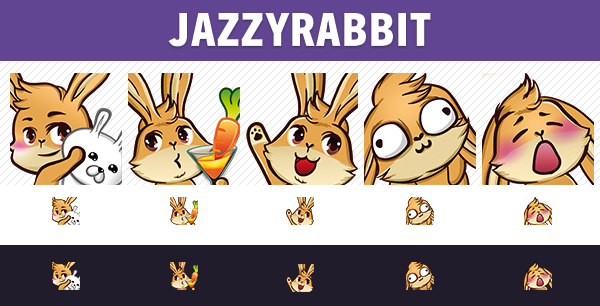 jazzyrabbit  Twitch Badges Und Emote Design