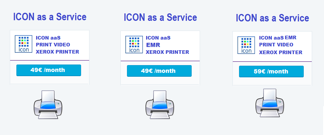 ICON aaS + Xerox printer Subscriptions by Month