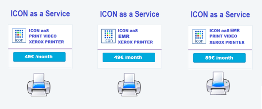 ICON SaaS + Xerox printer Subscriptions by Month