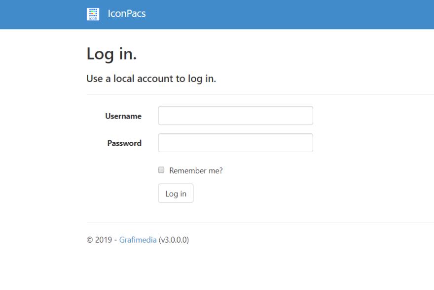 ICON PACS App Demo User login page