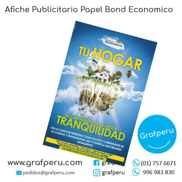 AFICHE PUBLICITARIO A3 BOND ECONOMICO BARATO GRAFPERU LIMA PERU